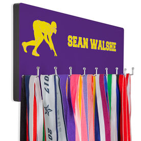 Football Hooked on Medals Hanger - Personalized Text With Linebacker