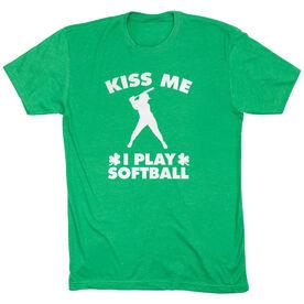 Softball Tshirt Short Sleeve Kiss Me I Play Softball