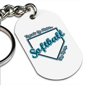 No Plate Like Home Softball Printed Dog Tag Keychain