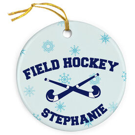 Field Hockey Porcelain Ornament Crossed Sticks With Snowflakes