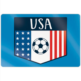 "Soccer 18"" X 12"" Aluminum Room Sign - USA Crest"