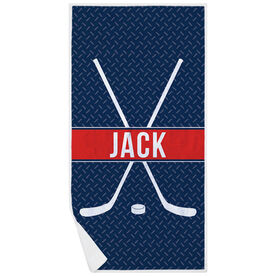 Hockey Premium Beach Towel - Personalized Crossed Sticks with Stripe