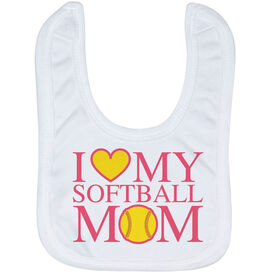 Softball Baby Bib - I Love My Softball Mom