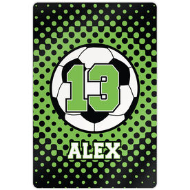 """Soccer 18"""" X 12"""" Aluminum Room Sign Personalized Soccer Ball with Dots Background"""