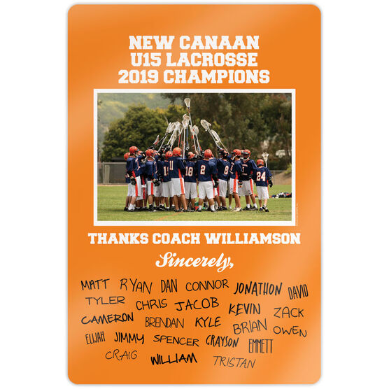 """Lacrosse 18"""" X 12"""" Aluminum Room Sign - Personalized Thanks Coach Team Photo with Signatures"""