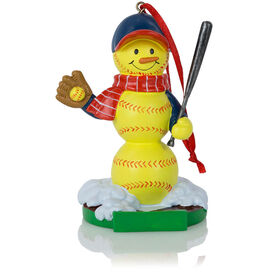 Softball Ornament - Softball Snowman