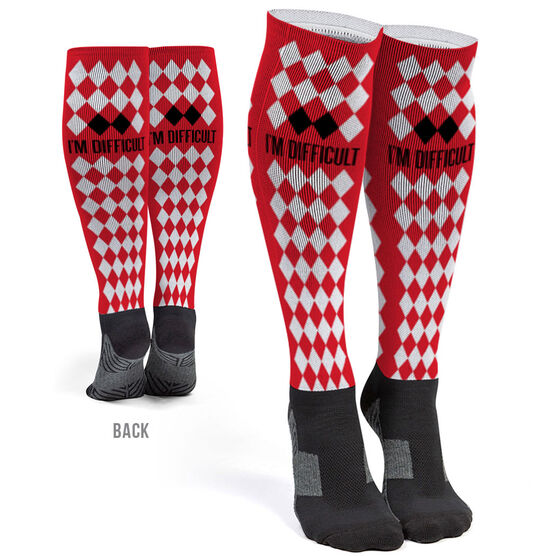Skiing and Snowboarding Printed Knee-High Socks - I'm Difficult