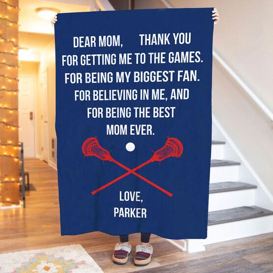 Guys Lacrosse Premium Blanket - Dear Mom Heart