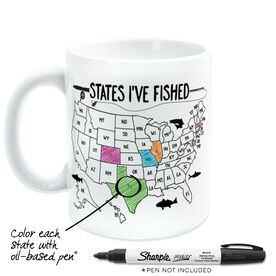 Fly Fishing Coffee Mug - States I've Fished Outline