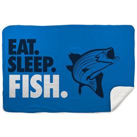 Fly Fishing Sherpa Fleece Blanket - Eat. Sleep. Fish. Horizontal