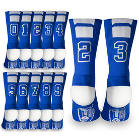 Team Number Woven Mid-Calf Socks - Blue