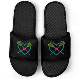 Girls Lacrosse Black Slide Sandals - Lax Heart with Crossed Sticks