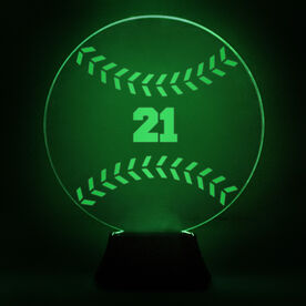 Baseball Acrylic LED Lamp Hardball With Number