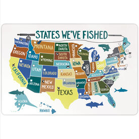 """Fly Fishing 18"""" X 12"""" Aluminum Room Sign - States We've Fished (Dry Erase)"""