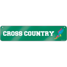 "Cross Country Aluminum Room Sign Cross Country Winged Foot (4""x18"")"