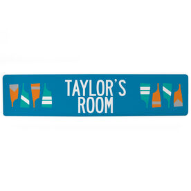 "Crew Aluminum Room Sign - Personalized Crew Room (4""x18"")"