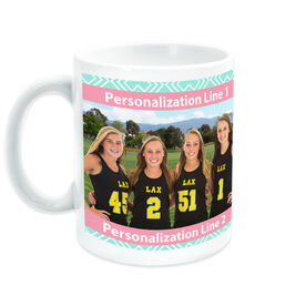 Girls Lacrosse Coffee Mug Custom Photo With Pattern