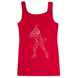 Softball Women's Athletic Tank Top - Softball Batter Sketch