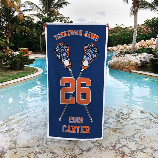 Guys Lacrosse Premium Beach Towel - Personalized Crossed Sticks Team