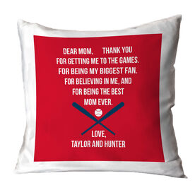 Baseball Throw Pillow - Dear Mom Heart
