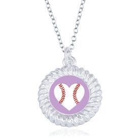 Baseball Braided Circle Necklace - Ball Heart