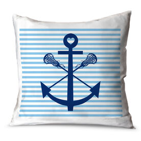 Girls Lacrosse Throw Pillow Lacrosse Sticks Anchor