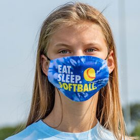 Softball Face Mask - Eat Sleep Softball Tie-Dye