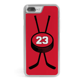 Hockey iPhone® Case - Personalized Crossed Sticks & Puck