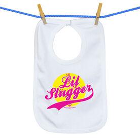 Softball Baby Bib Lil Slugger Girl