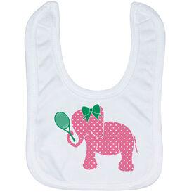 Tennis Baby Bib - Tennis Elephant with Bow