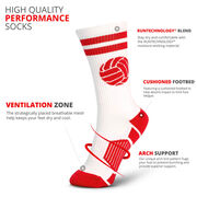 Volleyball Woven Mid-Calf Socks - Ball (White/Red)