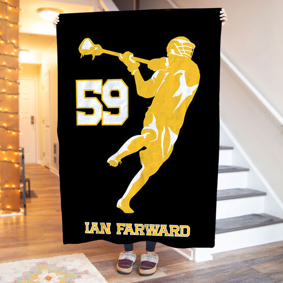 Guys Lacrosse Premium Blanket - Personalized Jump Shot Silhouette