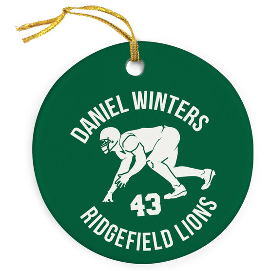 Football Porcelain Ornament Personalized Football Team with Linebacker Silhouette