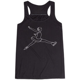 Figure Skating Flowy Racerback Tank Top - Figure Skating Player Sketch