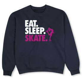 Figure Skating Crew Neck Sweatshirt - Eat Sleep Skate (Bold Text)