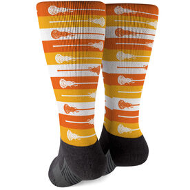 Girls Lacrosse Printed Mid-Calf Socks - Candy Corn Stick Stripes