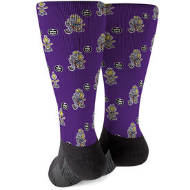 Seams Wild Football Printed Mid-Calf Socks - Dusty (Pattern)