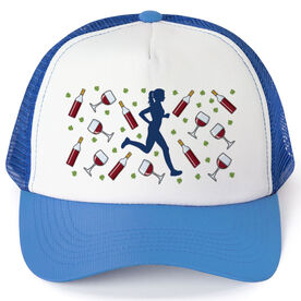 Running Trucker Hat - Wine Glasses Female Runner (Cabernet)