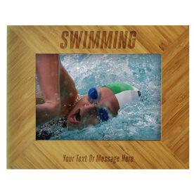 Swim Bamboo Engraved Picture Frame Swim