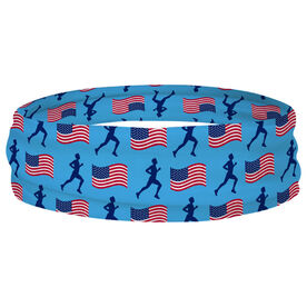 Running Multifunctional Headwear - Male Runner and USA Flag Pattern RokBAND