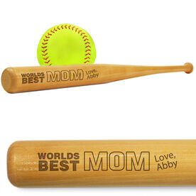 Softball Mini Engraved Bat Worlds Best Mom