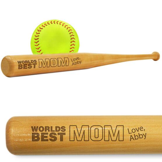 Softball Mini Engraved Bat Worlds Best Mom