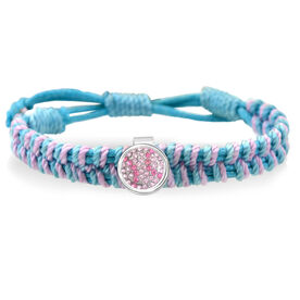 Softball Pink Rhinestone Adjustable Woven SportSNAPS Bracelet