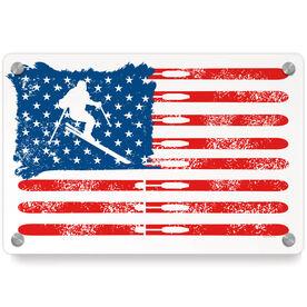 Skiing Metal Wall Art Panel - American Flag