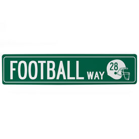 """Football Aluminum Room Sign - Football Way With Number (4""""x18"""")"""