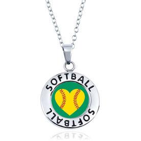 Softball Circle Necklace - Ball Heart