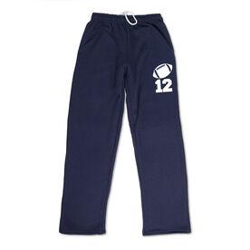 Football Fleece Sweatpants - Football Icon With Number