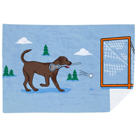 Guys Lacrosse Premium Blanket - Lacrosse Dog with Net