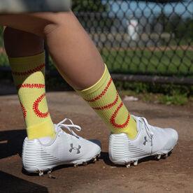 Softball Woven Mid-Calf Socks - Stitches (Yellow/Red)