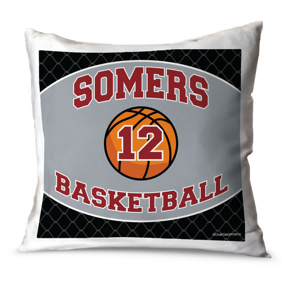 Basketball Throw Pillow Personalized Basketball Team With Basketball And Number